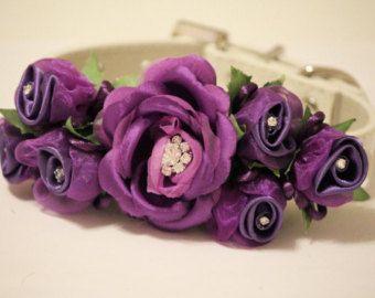 Collar de perro de la boda púrpura, Purle Floral con diamantes de imitación de Novia de accesorios para perros