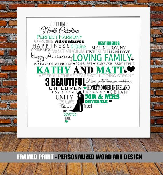Personalized 35th wedding anniversary wedding for 35th wedding anniversary gift ideas
