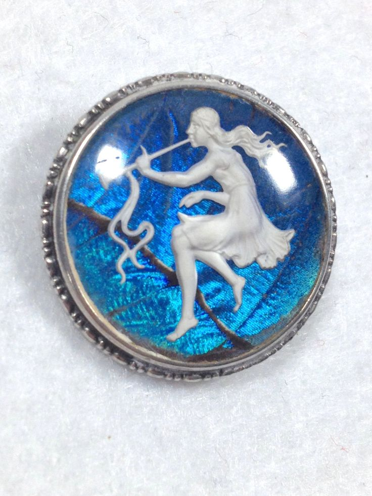 Vintage BLUE MORPHO BUTTERFLY Wing Sulfide Cameo Brooch Pin by Trouveurs on Etsy