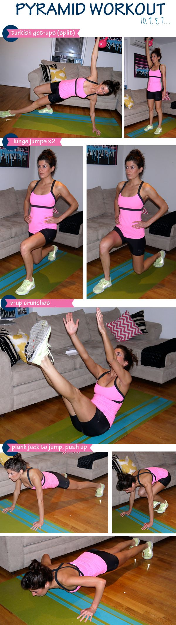 Tough pyramid workout of turkish get-ups, v-up crunches, jump lunges, and plank jump-jack push-ups.