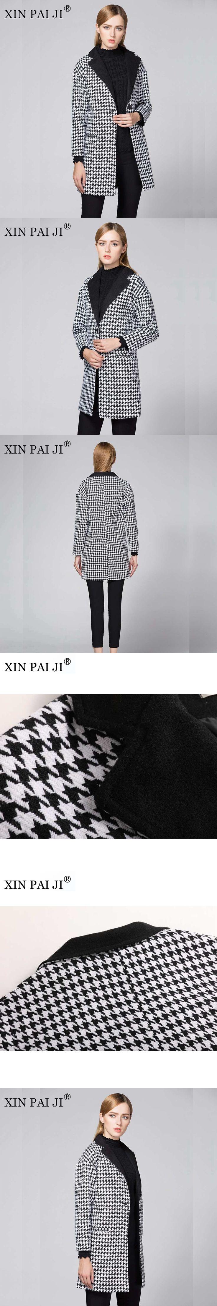 XIN PAI JI  2017 New Women Wool Long Coat Full Sleeve Autumn Winter Houndstooth Pockets Single Button Turn-down Collar Coat
