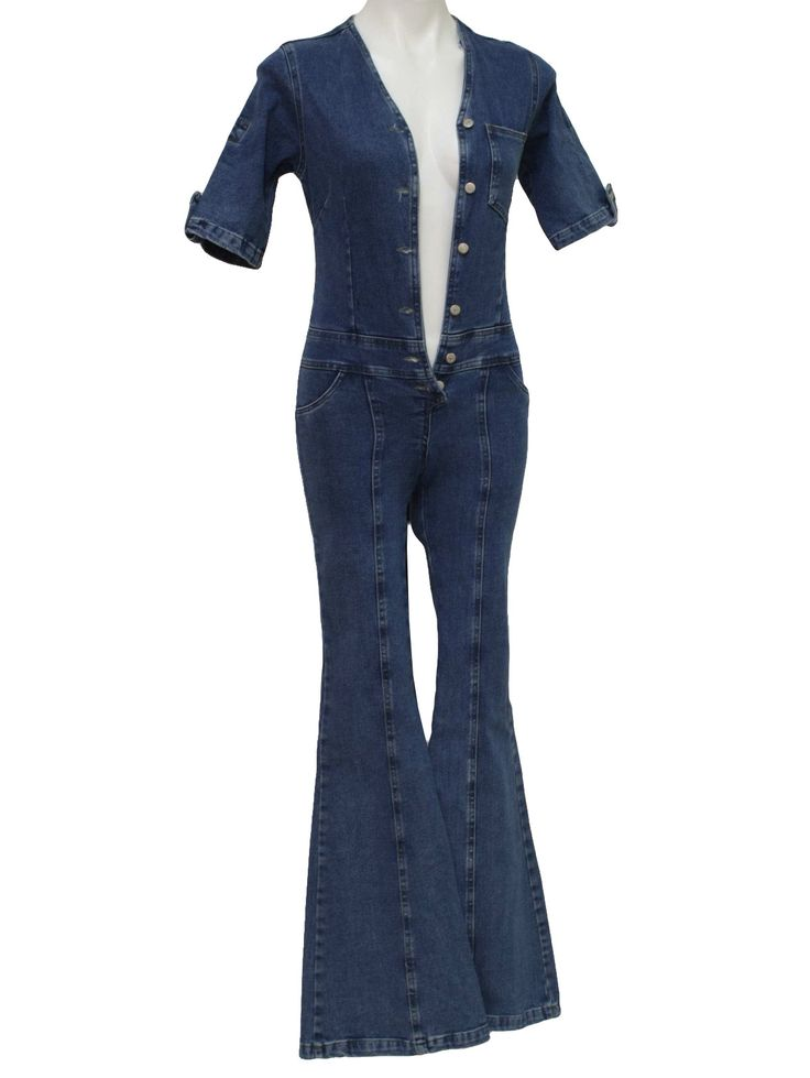 blue jean jumpsuit | 90s -Embrujo- Girls dark blue cotton denim button front jumpsuit with ...