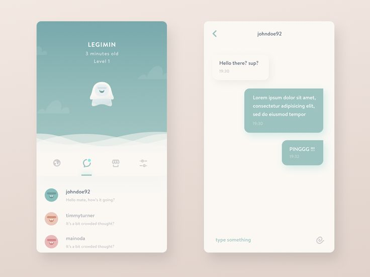 Inbox and Conversation Interface - Very minimal and clean design, using one main colour against white. Varies in layout to show slight variance while keeping it consistent throughout the design