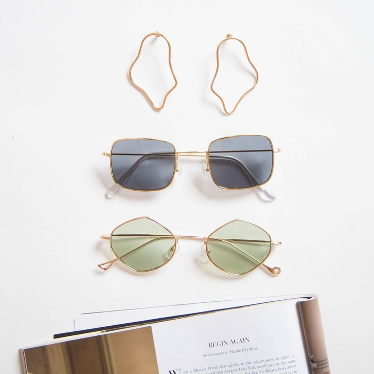 Angel Whispers Square Sunglasses - Black Elton Sunglasses - Green