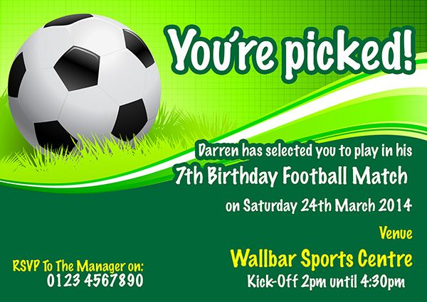 A personalised Football party invite perfect and unique to complement your childs birthday party theme. For a full range of different party theme invites visit www.justthecard.co.uk