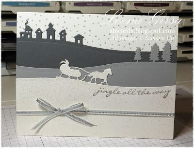 A La Cards - SU - Christmas card featuring the new Sleigh Ride Edgelits and Jingle all the Way stamp set