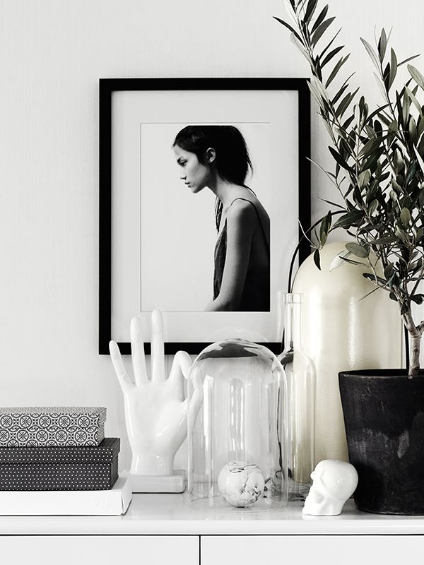 black and white console styling