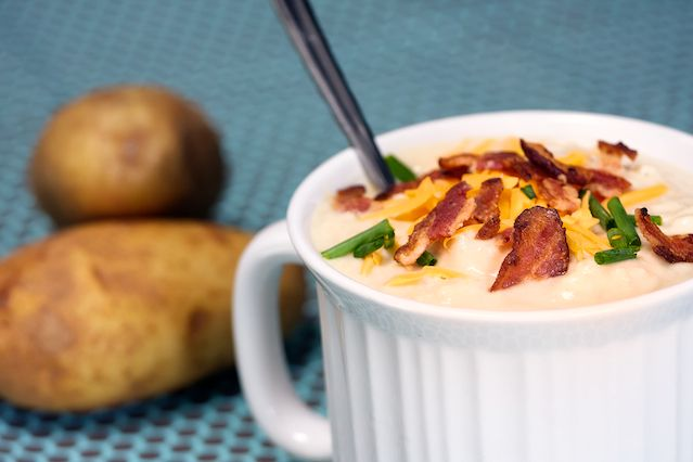 Baked Potato Soup--who doesn't like loaded baked potatoes AND soupy goodness??! Even this girls liked this.