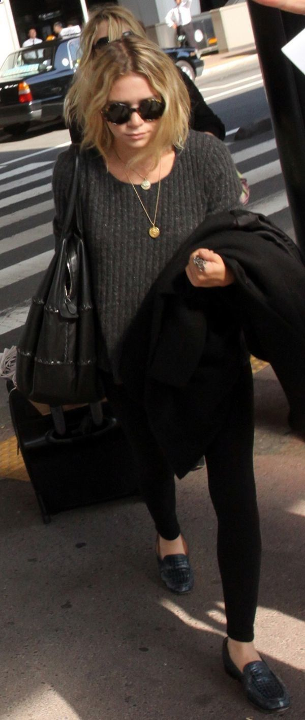 style inspo for my new weejuns! || Ashley Olsen - scruffy bob, oversized sweater, skinny jeans and loafers