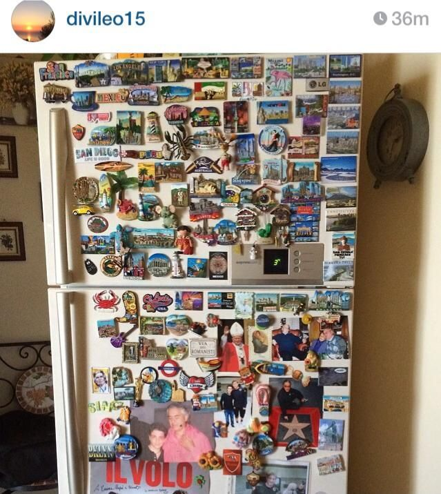 Magnets on Gian's refrigerator at his house in Abruzzi.