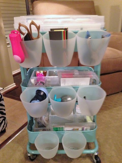 The Levan Family: PL Organization - IKEA Raskog cart with hanging cups also from Ikea.
