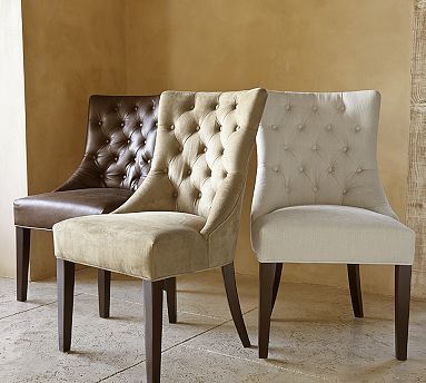 Love these dining table chairs. No bulky arms to get in the way and such an elegant shape without being too formal.