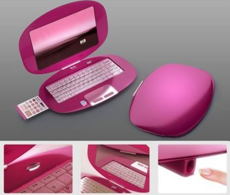 I LOVE the shape, but the make up & nail thing is just dumb. Who wants that crap IN their computer? Think about it. Coolest latest gadgets – Designer laptop concepts for HP – Only for women – New fun gadgets | Sclick