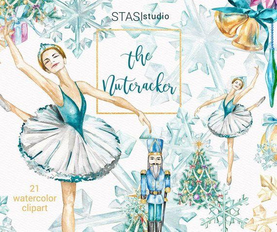 The Nutcracker Watercolor Clipart Christmas Fashion Ballerina