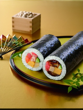 Ehomaki (Lucky Direction Roll), Long Uncut Sushi Roll eaten on Feb 3rd (Setsubun) in Osaka, Japan|恵方巻