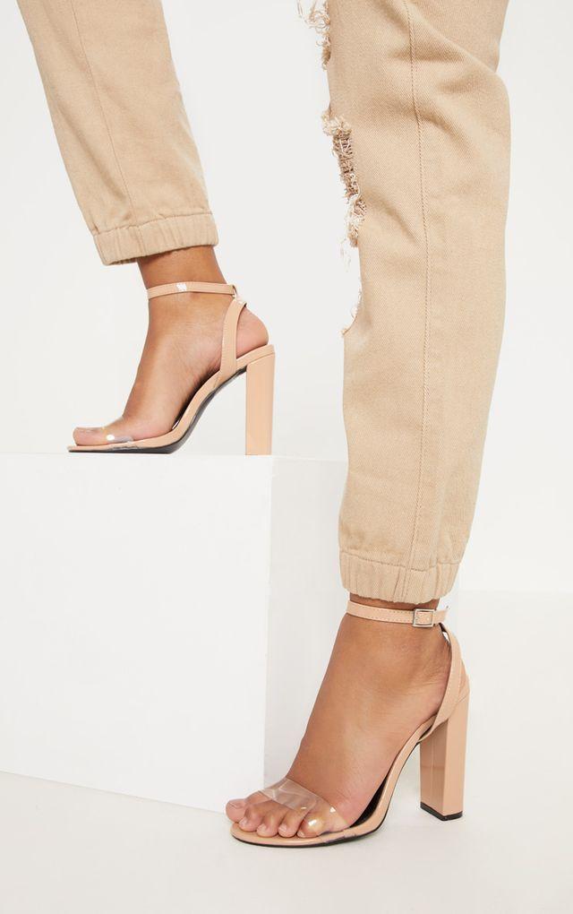 ee054a61159 Nude Clear Strap Block Heel Sandal