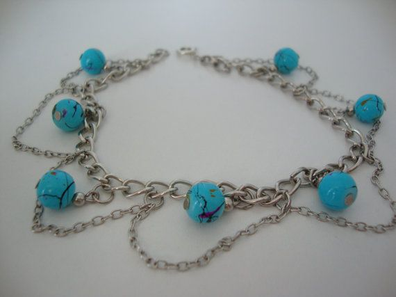 Antique silver chain and bead charm bracelet
