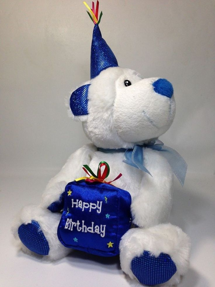 "Happy Birthday Celebration Blue White Teddy Bear Plush Polar Cub Petting Zoo 8"" #PettingZoo"