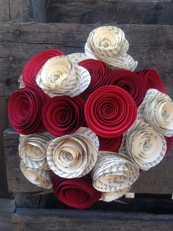 Book paper and red flowers for the one you love