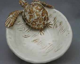 Nautical Ceramic Sea Turtle Salad Plate by Shayne by ShayneGreco