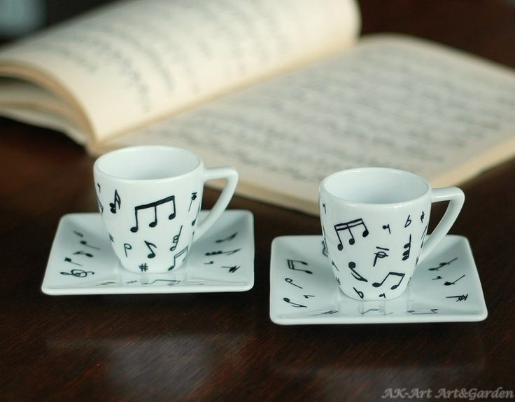 Ręcznie malowane filiżanki do espresso w nuty / Hand painted espresso cups with notes