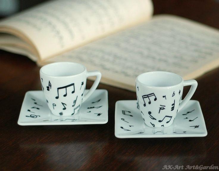 Ręcznie malowane filiżanki do espresso w nuty / Hand painted espresso cups with notes