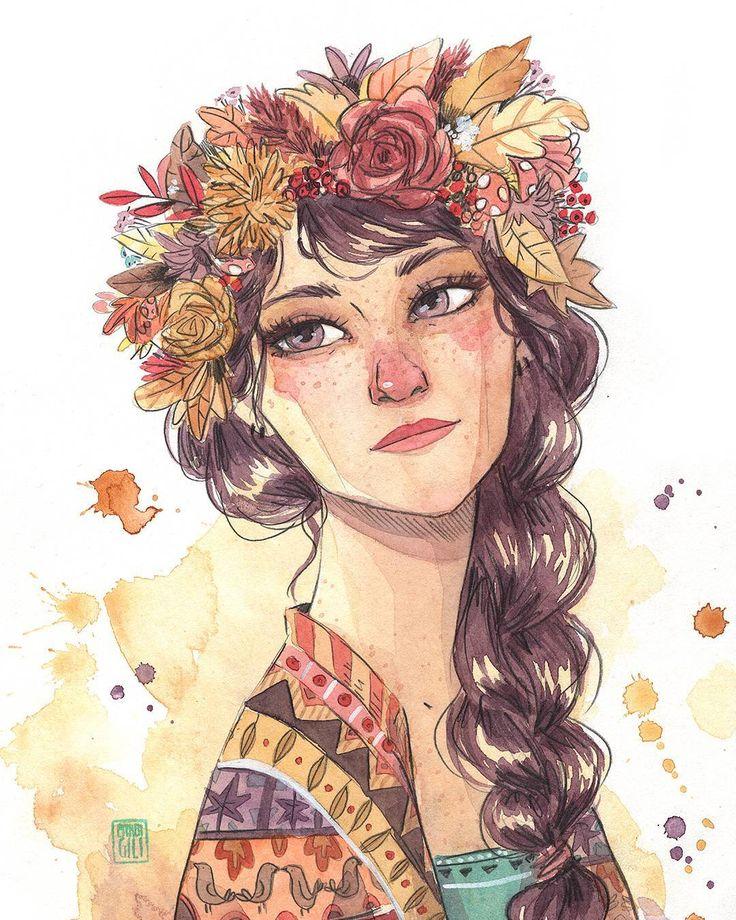 """11/30 KURI (vendida anoche) """"—¿Y quién es ella? ¡Seguro que es compañera de Brisa y Nim! ¿A que sí? —Eso es, ella es Kuri, es la que hace que las hojas cojan tonos marrones, rojizos y amarillos. También se encarga de convocar a todos los tipos  de setas y frutos de la estación, manzanas, higos, nueces, castañas, avellanas... Su tarea favorita es ayudar a las criaturas del bosque que hacen acopio de alimentos para enfrentarse al invierno. Siempre la verás acompañada de pajarillos o pequeños…"""
