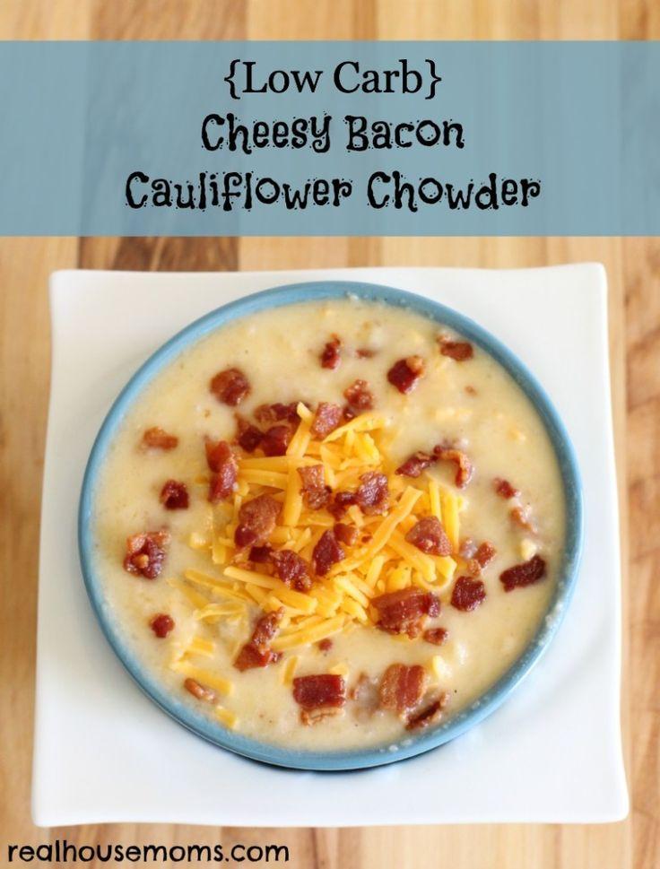 {Low Carb} Cheesy Bacon Cauliflower Chowder - YUM