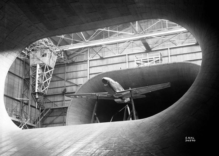A P-51 Mustang airflow testing in the full-scale wind tunnel