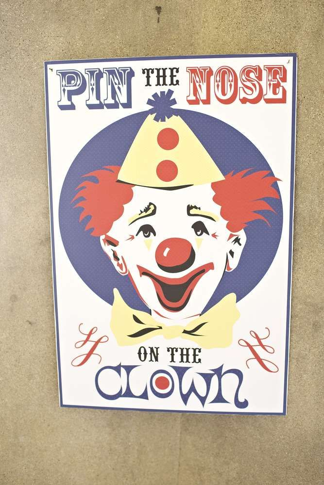 Pin the nose on the clown game at a vintage circus birthday party! See more party ideas at CatchMyParty.com!