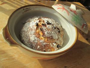 土鍋を使って石釜焼き風にできました!