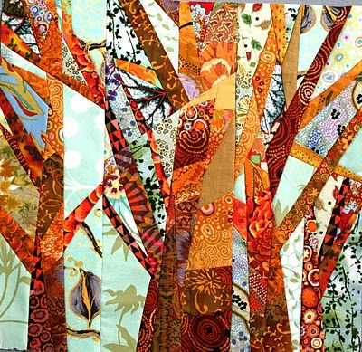 Trees - love all the different fabrics used in making the trunks and branches.