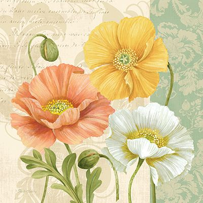 RB8747PG	<br>	Pastel Poppies Multi II <br> 18x18