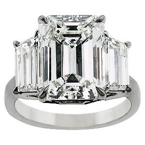 Wooo... swoon-worthy: a 3-stone emerald cut diamond ring (my absolute favorite style)