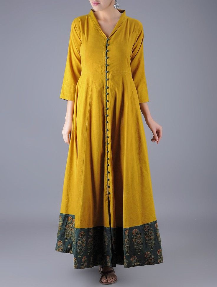 Buy Mustard Blue Button Down Ajrakh Natural Dyed Flared Cotton Dress Online at Jaypore.com