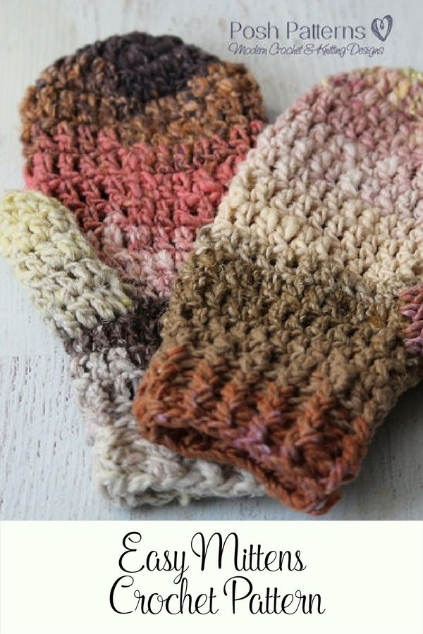 Crochet Pattern - An easy, cozy, and comfy pair of crochet mittens. Make them in a fun striping yarn, or use a classic solid color to match your outerwear. Perfect for gift giving! By Posh Patterns.