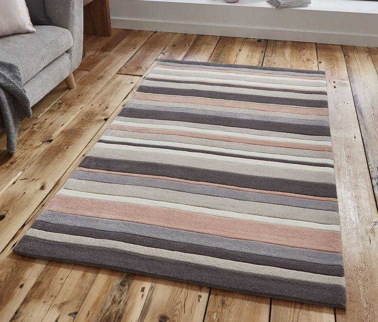 Beige peach stripe rug 120 x 170cm (4ft 0″ x 5ft 7″)-hand tufted acrylic rug #2022Beigepeach #Contemporary
