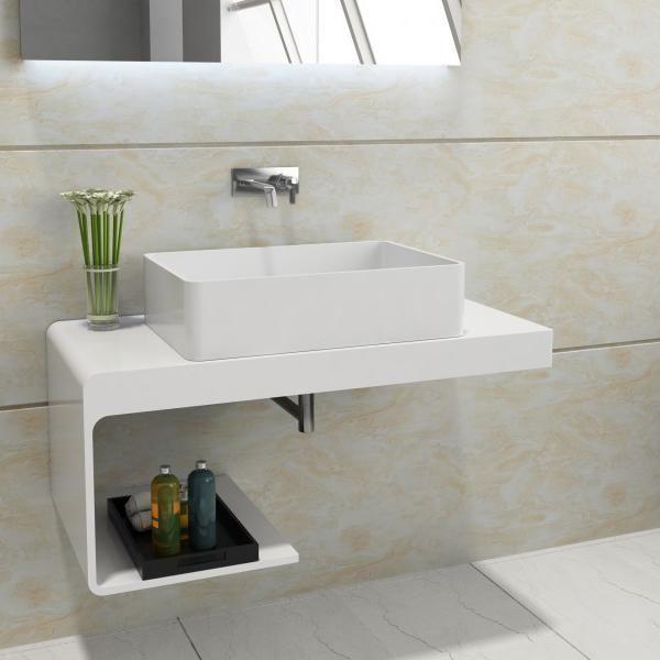 Waschtischkonsole NT01 Aus Mineralguss 100x48x42 Cm (Solid Stone) Badewelt  Waschbecken Waschtischplatte