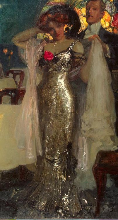 """fleshandthedevil: """" Lovers """" """" In the Restaurant """" by Charles Hoffbauer look at the detail and shimmer of this dress!"""