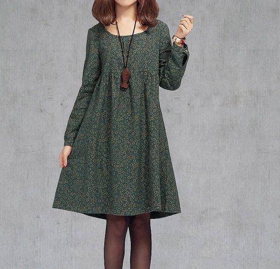 Plus+Size+Langarm+Kleid+/+Blumen-Druck-Maxi-Kleid++von+ASteria+auf+DaWanda.com