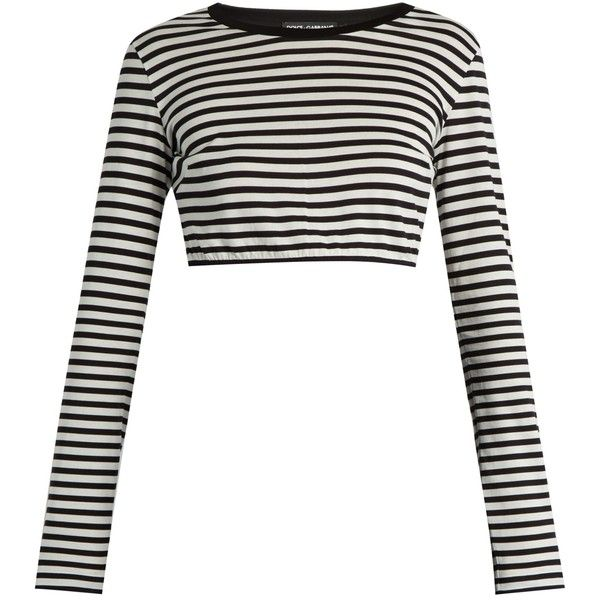 Dolce & Gabbana Striped cotton-jersey cropped top ($276) ❤ liked on Polyvore featuring tops, shirts, crop top, long sleeves, black stripe, striped shirt, stripe crop top, cropped tops, striped crop top and cropped shirts