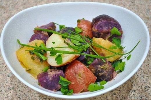 Purple, Red, and Gold Potato Salad, How To Make Potato Salad, Potato ...