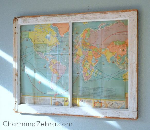 Vintage Map Window. I love this idea because I can write prayer needs on each country.