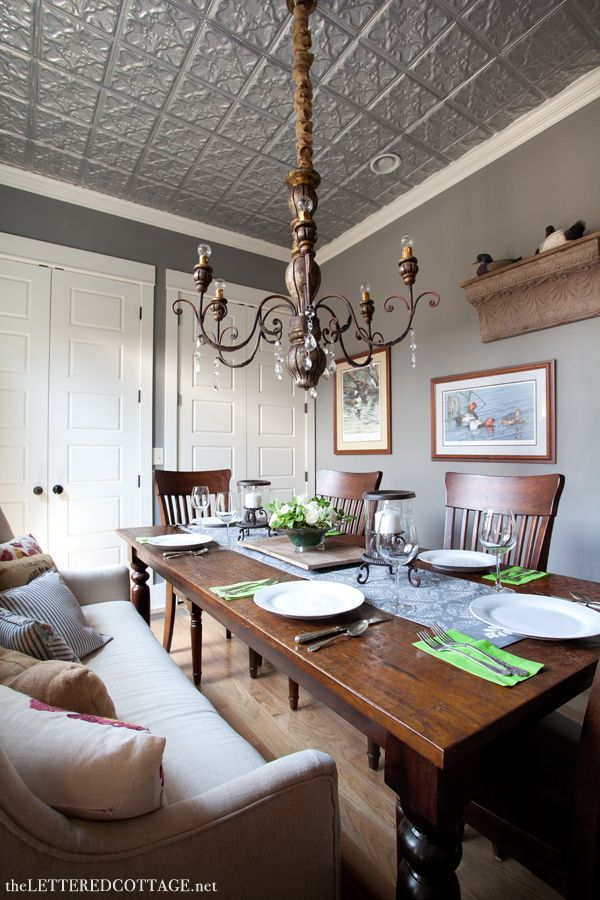 gray walls, white trim, natural wood