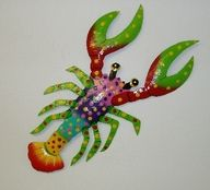 18in Freddy the Funky Lobster [PH-A640LFR] - $26.99 : Tropical fish wall decor,Gecko decor, Fish decor, Pottery House, Tropical Outdoor Wall Decor And More