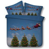 크리스마스 트리 침구 세트 이불 커버 칼 킹 퀸 트윈 전체 침대 가방 시트 침대 린넨 선물 산타 클로스 4 개