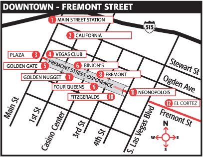 Downtown Las Vegas Map Of Hotels