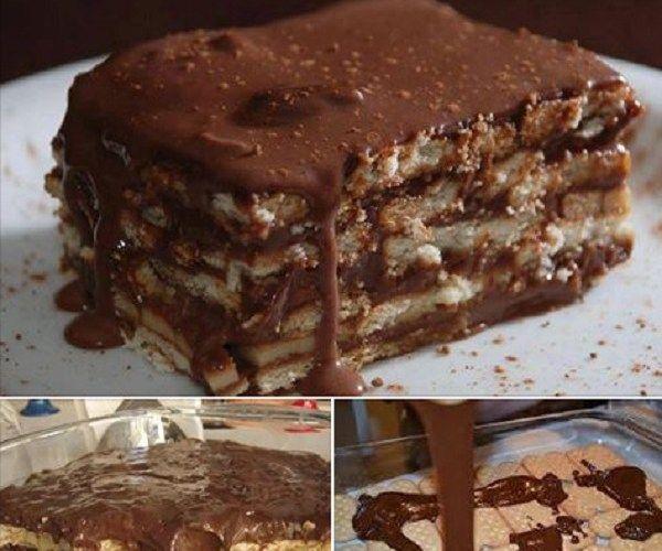Receita de Pavê de Chocolate com Bolacha Maizena