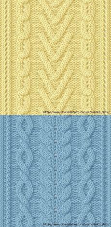 Вязание спицами - Узоры спицами - Косы и араны - 30 узоров.