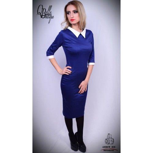 Rochie albastru electric office cu guler alb